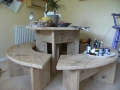 A handmade breakfast table with benches